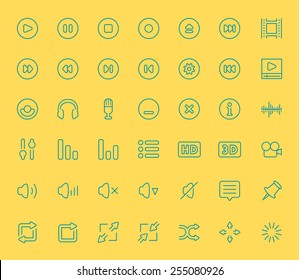 Vector audio and video player icons, thin line style