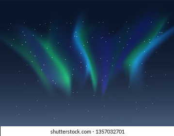 Vector aurora borealis background of night starry sky and green and blue synthwave style duotone gradient northern lights