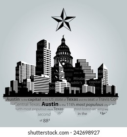 Vector. Austin city, capital of Texas silhouette.
