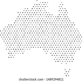 Vector Australia map filled with a texture of hexagonally arranged gray circles