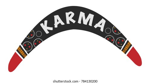 Vector Australian boomerang. Karma is a boomerang illustration.