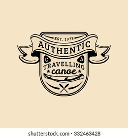 Vector authentic camp logo. Tourism sign with hand drawn canoe and paddles. Retro hipster emblem, badge, label of outdoor adventures.
