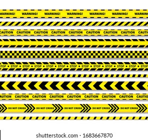 Vector aution lines set of seamless ribbons. Black and yellow striped strips.  Police, Warning, Under construction, Do not cross, Do not stop, Danger.