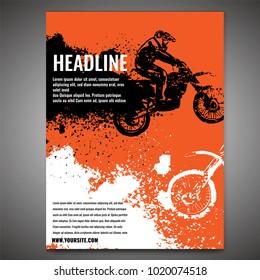 Vector automotive banner template. Grunge tire tracks backgrounds for landscape poster, digital banner, flyer, booklet, brochure and web design. Editable image in orange, black and white colors
