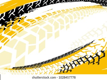 Vector automotive banner template. Grunge tire tracks backgrounds for landscape poster, digital banner, flyer, booklet, brochure and web design. Editable graphic image in red and white colors