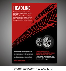 Vector automotive banner template. Grunge tire tracks background for vertical poster, digital banner, flyer, booklet cover, brochure and web design. Editable graphic image in black and red colors