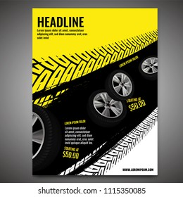 Vector automotive banner template. Grunge tire tracks background for vertical poster, digital banner, flyer, booklet cover, brochure and web design. Editable graphic image in black and yellow colors