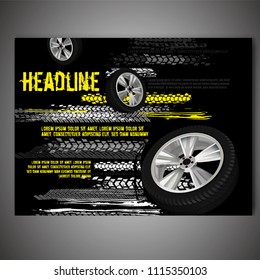 Vector automotive banner template. Grunge tire tracks background for landscape poster, flyer, booklet cover, brochure and web design. Editable graphic image in black, grey, white and yellow colors