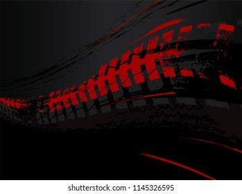 Vector automotive banner template. Grunge tire tracks background for landscape poster, digital banner, flyer, booklet, brochure and web design. Editable graphic image in black and red colors