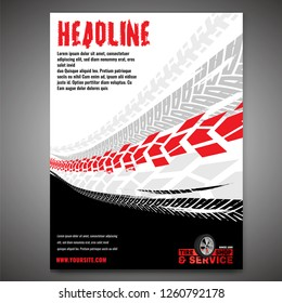 Vector automotive banner template. Grunge tire tracks background for portrait poster, digital banner, flyer, booklet, brochure and web design. Editable graphic image in black, white, grey, red colors