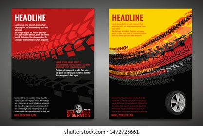 Vector automotive banner template. Grunge tire tracks background for vertical poster, digital banner, flyer, booklet, brochure, web design. Editable graphic image in black, red, yellow, orange colors