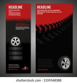 Vector automotive banner template. Grunge tire tracks background for vertical poster, digital banner, flyer, booklet, brochure, web design. Editable graphic image in black, red, grey colors