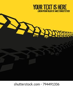 Vector automotive banner template. Grunge tire tracks background for landscape poster, digital banner, flyer, booklet, brochure and web design. Editable graphic image in grey and yellow colors