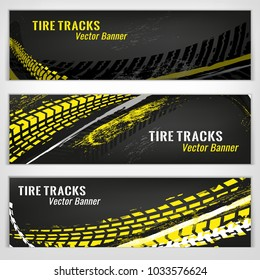 Vector automotive banners template. Grunge tire tracks backgrounds for landscape poster, digital banner, flyer, brochure and web design. Editable graphic image in grey, yellow and white colors