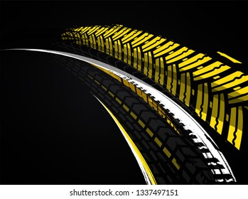 Vector automotive banners template. Grunge tire tracks backgrounds for landscape poster, digital banner, flyer, booklet, brochure and web design. Editable graphic image in grey, yellow, white colors