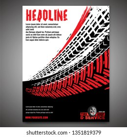 Vector automotive banners template. Grunge tire tracks backgrounds for portrait poster, digital banner, flyer, booklet, brochure and web design. Editable graphic image in black, red, white colors