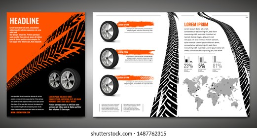 Vector automotive banners template. Grunge tire tracks backgrounds for portrait poster, digital banner, flyer, booklet, brochure and web design. Editable graphic image in black, orange, white colors