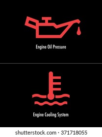 Vector Automotive Engine Oil and Engine Cooling Icons