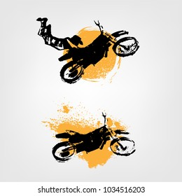 Vector automotive illustration. Grunge splash element with hand drawn motorcycle for poster, digital banner, logotype, leaflet and web design. Editable graphic image in black and yellow colors.