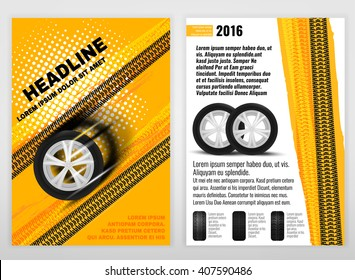 Vector automotive portrait template. Backgrounds for poster, print, flyer, advertisement, booklet, brochure and leaflet design. Editable graphic image in white, yellow, oramge and black colors