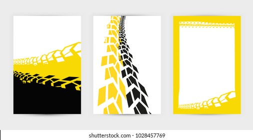 Vector automotive posters template. Grunge tire tracks backgrounds for landscape poster, digital banner, flyer, booklet, brochure and web design. Editable graphic image in black, yellow, white colors