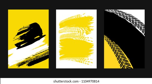Vector automotive posters template. Grunge tire tracks backgrounds for portrait poster, digital banner, flyer, booklet, brochure and web design. Editable graphic image in black, yellow, white colors