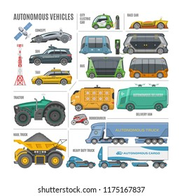 Vector autonomous self drive vehicles set, driverless transport with city and race car, taxi, bus, delivery van, robocourier, tractor, haul and heavy duty truck, satellite, antenna, charge station.