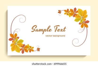 Vector autumn background with corner decoration of yellow chestnut leaves, greeting card or invitation template, eps10