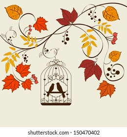 Vector autumn background design with bird cage