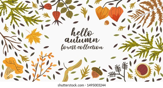 Vector autumn background with floral elements that can be used as a flyer, banner, landing page, poster for new fall collection or sale. Forest or harvest illustration set.