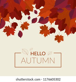 Vector autumn background with red leaves. Maple, hornbeam, hawthorn.