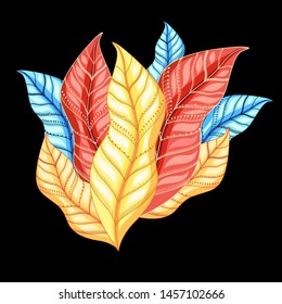 Vector autumn composition with leaves on a dark background. Template design poster or postcard.