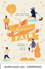 Vector autumn fair poster, flyer or banner or banner template with people enjoying their time outdoors in park. Fall holiday season recreation and public event