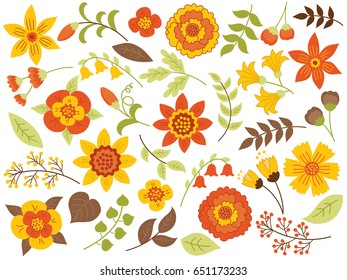 Vector autumn floral set. Set with yellow flowers, red berries, green and brown leaves.  Floral elements for wedding. Autumn floral clipart. Autumn floral vector illustration.
