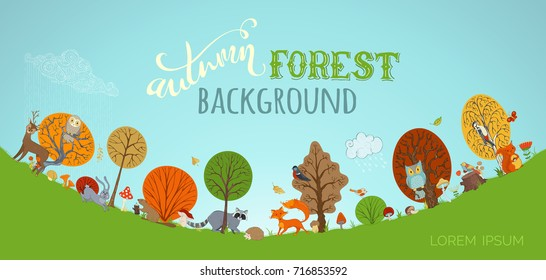 Vector autumn forest background. Cute woodland wild animals in forest made in cartoon style. Fox, deer, hare, squirrel, woodpecker, racoon, hedgehog, owl, beaver. Autumn wet weather. Trees and leaves.