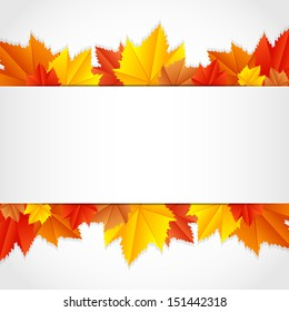 Vector autumn frame with leaves