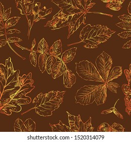 Vector autumn hand drawing seamless pattern with horse chestnut, hawthorn, rose hip, Rowan leaves outline on the brown background. Fall line art of foliage in gradient colors. stock illustration