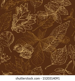 Vector autumn hand drawing seamless pattern with horse chestnut, oak, rose hip, Rowan leaves outline on the brown background. Fall line art of foliage in monochrome brown colors. stock illustration