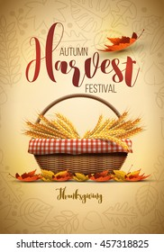 Vector autumn harvest festival poster design template. Elements are layered separately in vector file.