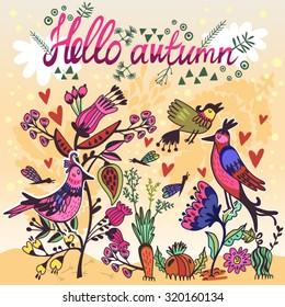 Vector autumn illustration in cartoonish style.