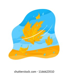Vector autumn illustration of a yellowed oak and maple leaves in the wind with rain. Isolated on the white background.