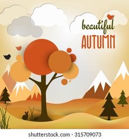 Vector autumn landscape background.Vector illustration. Autumn landscape.