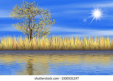 Vector autumn landscape. Grass, tree and blue sky are reflected in the water.