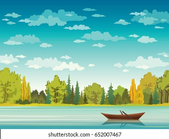 Vector autumn landscape with wooden boat, calm blue lake, forest and cloudy sky. Nature illustration.