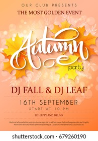 Vector autumn party poster with lettering, yellow autumn maple leaves, doodle branches and flares.