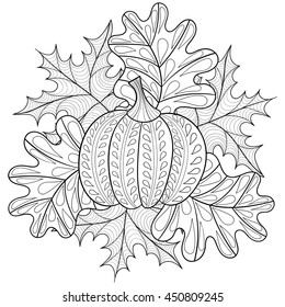 Vector autumn patterned background with pumpkin, maple and oak leaves for adult coloring pages. Hand drawn artistic monochrome illustration in ethnic, zentangle style. Doodle design.