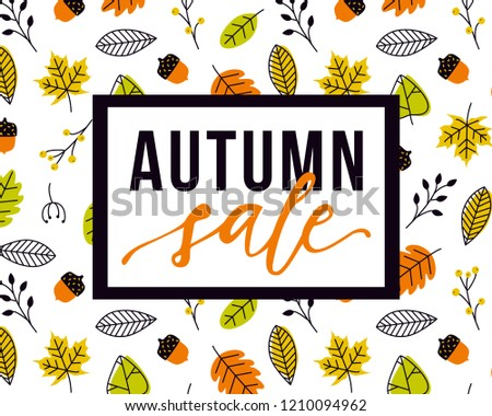 vector autumn sale flyer template lettering stock vector royalty