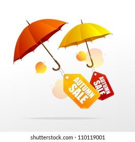 Vector autumn sale labels with umbrellas