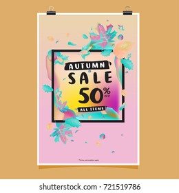 Vector autumn sale poster template with lettering. Bright fall leaves. brochure, card, label, banner design. Bright commercial background design.