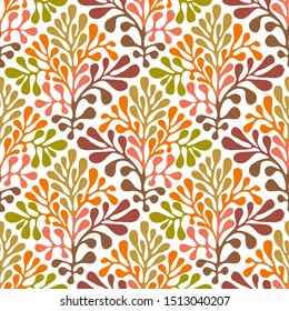 Vector Autumn Seamless Floral Pattern. Hand drawn Mexican otomi style pattern